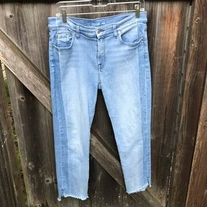 7 For All Mankind Cropped Light Wash Denim